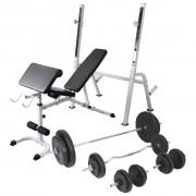 vidaXL Banco musculação c/ suporte p/ pesos + barras e halteres 90 kg
