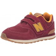 New Balance Boys 574v1 Hook and Loop Sneaker, Mercury Red/Gol, 3 W US Infant (0-12 Months)