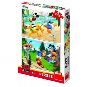 Puzzle 2 in 1 Mickey campionul, 77 piese, 4-8 ani