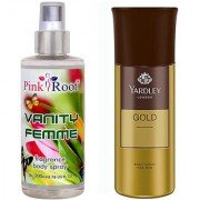 Yardley Gold Body Spray for Men 150ml and Pink Root Vanity Femme Fragrance body Spray 200ml Pack of 2