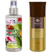 Yardley Gold Body Spray for Men 150ml and Pink Root Vanity Femme Fragrance body Spray 200ml Pack of 2