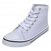 vidaXL Klasszikus női magasított szárú fűzős vászon tornacipő méret 40 fehér