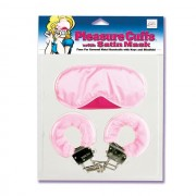 Pleasure Cuffs W/ Satin Mask Pink