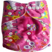 Tinytots Reusable Nappy washable Chemical free leak free Pocket Cloth Diaper with microfiber insert - pink animals