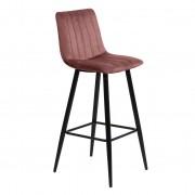 Nimara.se Enya sammet barstol i Rosa med svarta ben och sitshöjd 65 cm