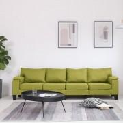 vidaXL 4-местен диван, зелен, текстил