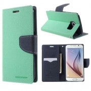 Korean Mercury Fancy Diary Wallet Case for Samsung Galaxy S6 Edge Plus Green