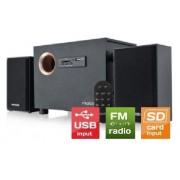 Microlab aktivni drveni zvučnici 2.1 10W RMS (5W, 2x2.5W) SD USB FM radio daljinski (M-105R)