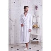PECHE MONNAIE Стильный мужской халат класса премиум из бамбука белого цвета PECHE MONNAIE №903 Белый