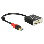 DeLock USB 3.0 Type-A male > DVI-I (Dual Link) female Adapter Black 62737