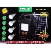 Kit iluminat cu panou solar pentru reincarcare cu lanterna, RadioFM, MP3 GDLite GD-8025
