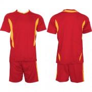 Футболен екип, фланелка с шорти червено и жълто