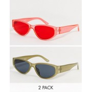 ASOS DESIGN 2 pack oval sunglasses in khaki crystal with smoke lens and red crystal colour-Multi