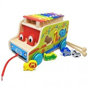 Lewo Wooden Toddlers Push Pull Along Toys with Xylophone Multifunctional Bus Early Educational Games for Kids
