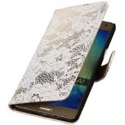 Samsung Galaxy A7 2015 A700F Hoesje Bloem Bookstyle Wit
