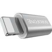 Adaptor Micro Usb to Lightning Borofone BV5 Incarcare si Transfer Argintiu