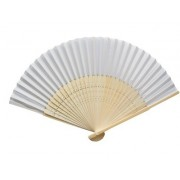 Plain White Fabric & Bamboo Wedding Fan