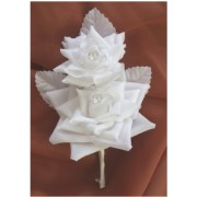 2 off DOUBLE SOFT TOUCH WHITE ROSES BUTTONHOLE