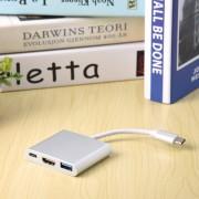 Tipo C A 4K HDMI USB 3.0 Cargador HUB Adaptador USB-C 3.1 Converter Para Macbook-Plata
