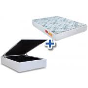 Conjunto Box Baú - Colchão Orthocrin Ortopédico Orthoclínico Ouro Azul + Cama Box Baú Courino Bianco - Conjunto Box Queen Size - 158 x 198