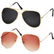 Freny Exim Aviator Sunglasses(Black, Orange)
