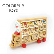 Colorpur Activity Truck to Learn Abacus Alphabets Numbers and Time - Eco-friendly Wooden Toys for Babies / Toddlers | Age: 12 - 36 months