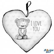 Szív alakú párna, I love you szürke maci