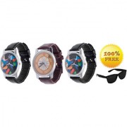 Buy Pack of 3 Analog Watches And Get Snglss Free