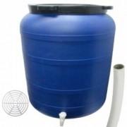 Pachet - Butoi 200L cu robinet Plastic alimentar Bidon cu capac prin infiletare + Presa rotunda pentru butoi 45cm + Teav