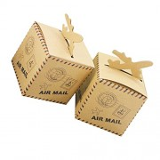 Vintage Postmark Kraft Sweets Gift Boxes Candy Box Party Wedding Decor Pack of 50
