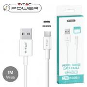 CAVO USB A MICRO USB 1 METRI BIANCO PEARL SERIES VT-5301-LED8480