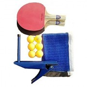 KAMACHI TT Bats + TT Balls + Stand + Net (Complete Table Tennis Kit)