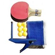 KAMACHI TT Bats + TT Balls + Stand + Net (Complete Table Tennis Kit)