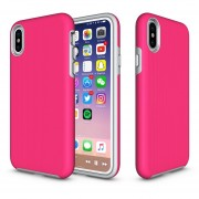 Para IPhone X Antideslizante Armadura Protectora Caso Contraportada Shell (magenta)