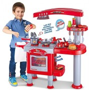 Vinsani Childrens Kids Deluxe Pretend Play Dishwasher & Oven Combo Kitchen Play Set - Red