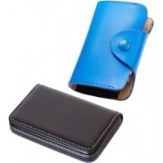 Stealodeal New Blue Leatherite High Quality Wallet With Black Leather 15 Card Holder(Set of 2, Blue, Black)