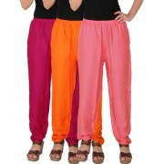 Culture the Dignity Women's Rayon Solid Casual Pants Office Trousers With Side Pockets Combo of 3 - Magenta - Orange - Baby Pink - C_RPT_M1OP2 - Pack of 3 - Free Size