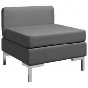 vidaXL Модулен среден диван с възглавница, текстил, тъмносив