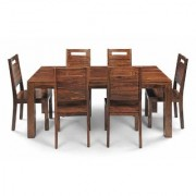BM WOOD FURNITURE Sheesham Wood 6 Seater Dining Table Set Furniture (Natural Teak Finish)
