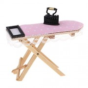 Phenovo 1/12 1/24 Wooden Pink Dot Ironing Board & Black Iron Dollhouse Miniature Home Scene