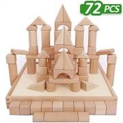 Wooden Blocks - iPlay iLearn wood block set Natural Wooden Stacking Cubes Blocks 72 PCS