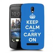 Husa HTC Desire 500 Silicon Gel Tpu Model Keep Calm Carry On