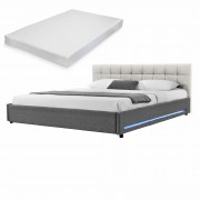 [my.bed] Elegantná manželská posteľ s LED osvetlením - matrac zo studenej HR peny - prešívaná - 180x200cm (Záhlavie: alcantara koženka sivobiela / Rám: textil sivá) - s roštom