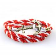 Pulsera Cuerda Y Ancla Tipo Bronce Moda Hombre Y Mujer -Blanco Y Rojo