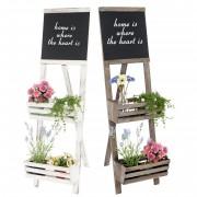 Pflanzregal mit Tafel, Standregal Blumenständer, 117x34x58cm Shabby-Look Vintage ~ Variantenangebot