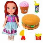 Jojoss Pretty Doll with Burger Party Fast Food Lunch Play (Multi Color)