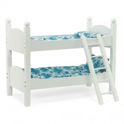 White Bunk Bed Doll Furniture   Fit 18 Inch American Girl Dolls   Includes Vibrant Blue Floral Beddi