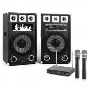 "Impianto Karaoke ""STAR-12A"" Set Casse PA Attive   Set Microfono Wireless 2 Canali"