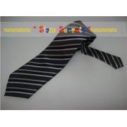Stylish Grey Silver striped Quality Silk Tie-Handmade in Thailand