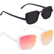 TheWhoop Rectangular Sunglasses(Black, Orange)